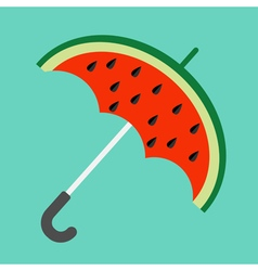 Big watermelon slice cut with seed umbrella shape vector