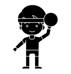 boy with ball playing hand up icon vector image vector image