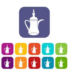 Oriental teapot icons set vector
