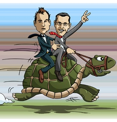 Turtle riding vector image vector image