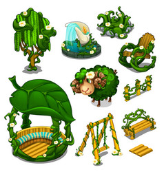 big set of scenery for location plants style vector image
