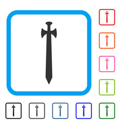 medieval sword framed icon vector image