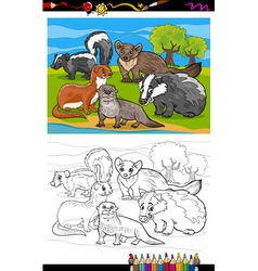 mustelids animals cartoon coloring book vector image vector image