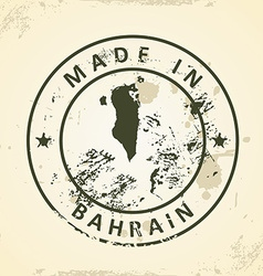 Stamp with map of Bahrain vector image vector image