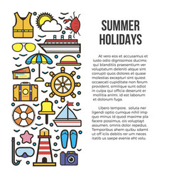 summer holiday cruise template with marine vector image vector image