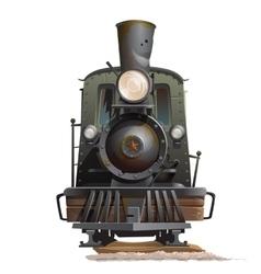 Train locomotive front view Vintage transport vector image vector image