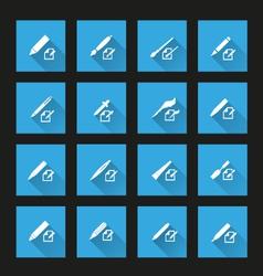 Writing Tools icons 3 long shadow vector image
