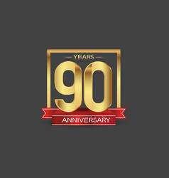 90 years anniversary logo style with golden vector