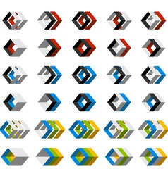abstract 3D square icons vector image vector image