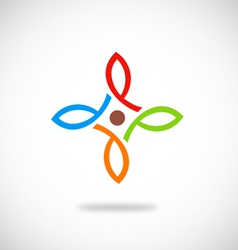 Abstract geometry flower logo vector