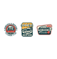 Auto service and repair badges with retro car vector
