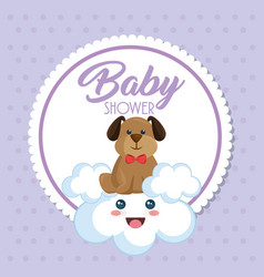 Baby shower card with cute dog vector