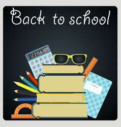 back to school background black desk with school vector image