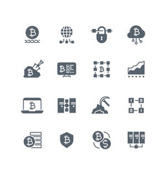 blockchain and cryptocurrency mining icons vector image