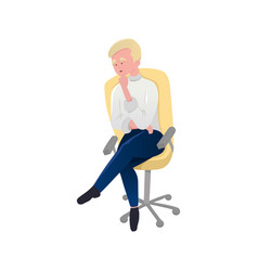 blonde man sitting on rolling chair in vector image
