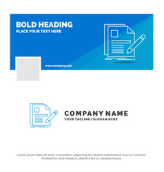 blue business logo template for document file vector image