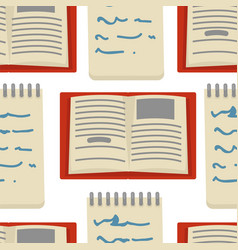 Book and notepad seamless pattern writer vector