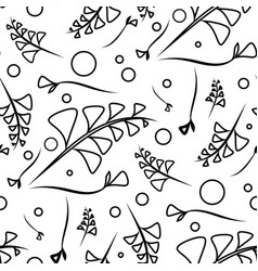 botanical monochrome pattern from black plants vector image