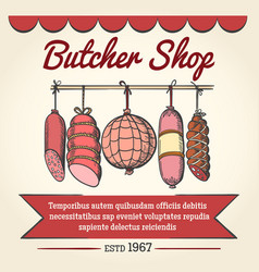 butcher shop poster vector image