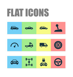Car icons set collection of car truck vector