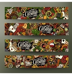 Cartoon doodles casino banners vector