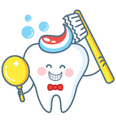 Cartoon tooth with toothpaste and mirror vector