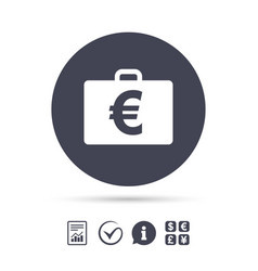 Case with euro eur sign briefcase button vector