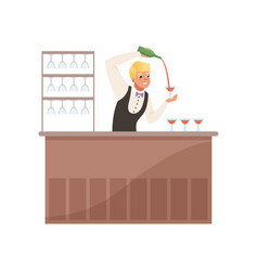 Cheerful bartender at the bar counter pouring vector