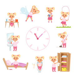 childrens daily routine male and female kids in vector image
