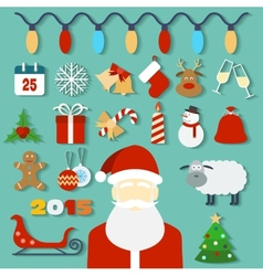 Christmas concept with flat icons and Santa vector image