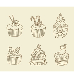 Christmas cupcakes vector image