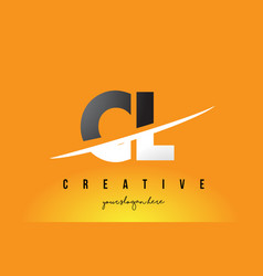 Cl c l letter modern logo design with yellow vector