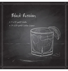 Cocktail Black russian on black board vector