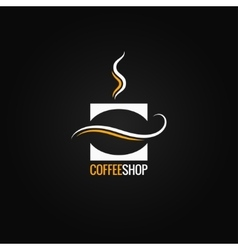 coffee cup with bean logo background vector image