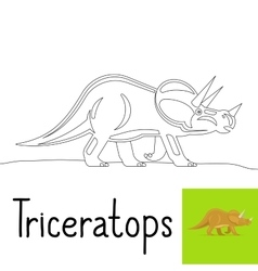 Coloring page for kids with Triceratops vector