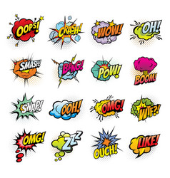 Comic book sound blast bubbles cartoon icons vector