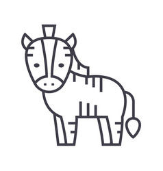 Cute zebra line icon sign on vector