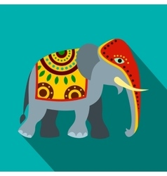 decorated elephant icon flat style vector image