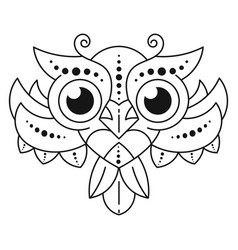 Decorative owl coloring antistress black and vector
