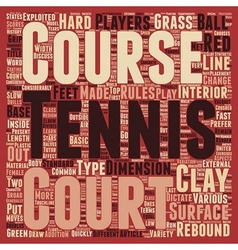 Different Type Of Tennis Courts text background vector image