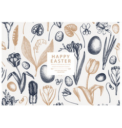 easter seamless pattern with spring flowers bird vector image