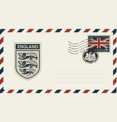 envelope with coat of arms of england and uk flag vector image