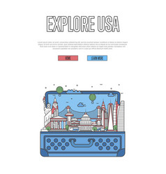Explore usa poster with open suitcase vector