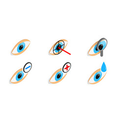 Eye diagnostic icon set isometric style vector