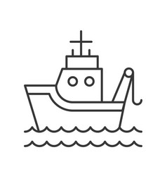 fish boat on sea waves outline icon on white vector image
