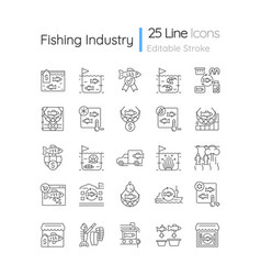 Fishing industry linear icons set vector