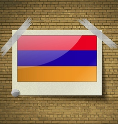 Flags Armenia at frame on a brick background vector image