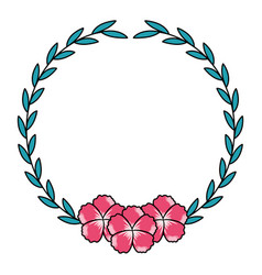 floral wreath flower decoration white background vector image