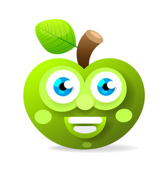 green apple with big eyes smiling vector image