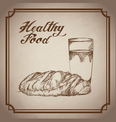 Hand drawn bread drink glass food products vector